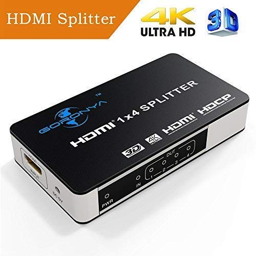 Goronya 4 Port HDMI Splitter 1 in 4 Out Amplifier Support 4K x 2K Ultra HD and 3D Full HD 1080P ()