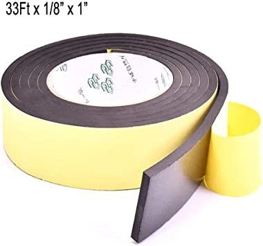 Weather Stripping for Doors,Adhesive Foam Insulation Tape Seal,Windows,Waterproof,Plumbing,HVAC,Pipes,Cooling,Air Conditioning,Craft Tape 33 Ft- 1//8 x 1, White