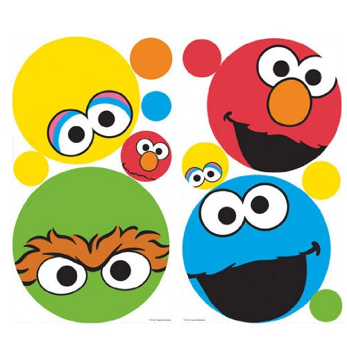 SESAME STREET 27 BiG Wall Stickers Polka Dot Decal ELMO ABBY Room Decor BIG BIRD