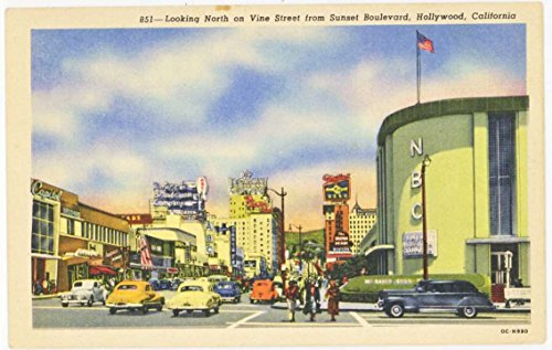 Looking North On Vine Street from Sunset Blvd. - Downtown Hollywood California (Vintage Street Scene Linen Postcard) ()