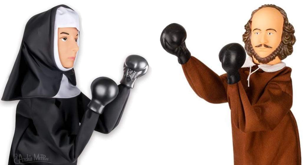 Punching Nun and Shakespeare Puppets - What a Fun Duel!
