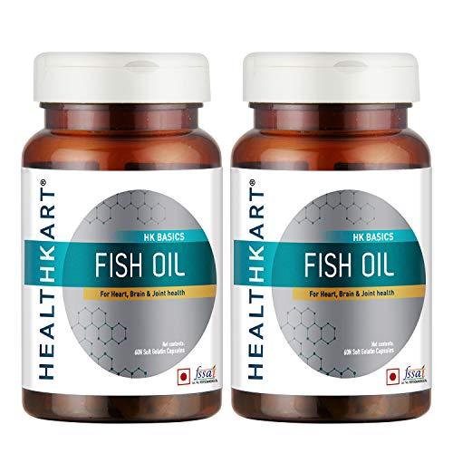 HealthKart Fish Oil (1000 Omega 3 , With 180 Mg Epa & 120 Mg Dha)- Pack of 2 (60 Capsules each)