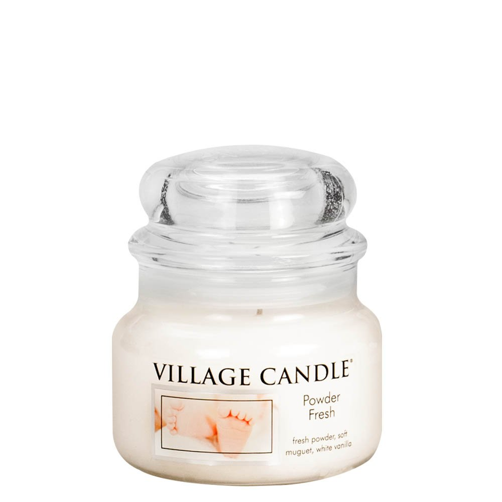 Village Candle Vela Pequeña con Aroma Polvo Fresco, Cristal, Blanco, 9.6x9.3x5.5 cm 106011827