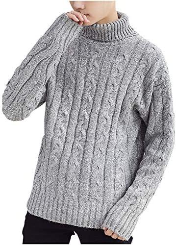 ニット タートルネック ケーブル編み セーター 無地 防寒 オシャレ シンプル 春秋冬 M ~ 2XL メンズ