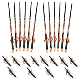 Ravin Crossbows R138 Carbon 400 Grain .003 Crossbow Arrows (12 Pack), Black/Red, with 12 NAP Hunting Broadheads