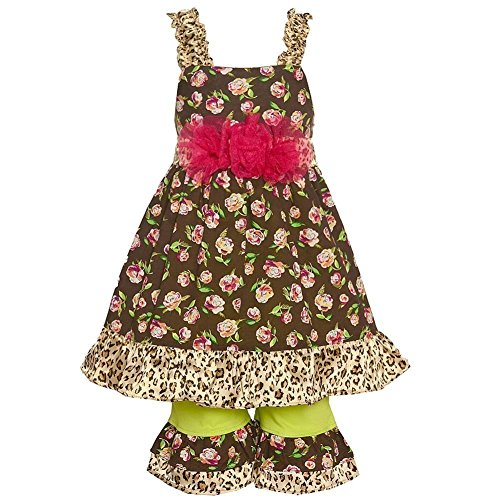 Little Girls Brown Rose Leopard Print Flower Adorned 2 Pc Pant Outfit - Style Sophias