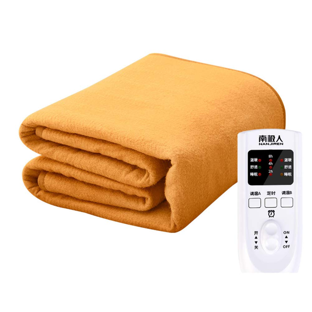毛布を暖房,安全 電気毛布,防水 非放射線 温度調整 コント ローラー自動電源オフ-イエロー   B07K59Z11C