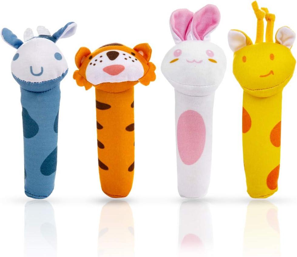 MOOKLIN ROAM 4 Piezas Juguete de Sonajero Muñeca de Peluche, Peluches Suaves de Bebe Sentido Animales Felpa Juguete para 3 6 9 12 Meses Infantil