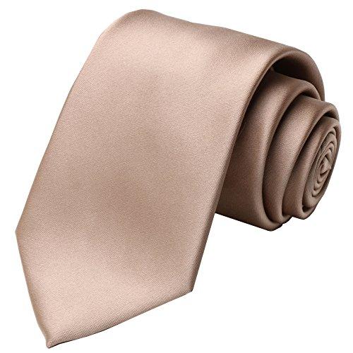 KissTies Tan Ties Solid Satin Tie Necktie + Gift Box