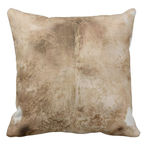 (Cream Brown Speckled Cowhide Leather Print Pillow Case)