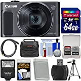 Canon PowerShot SX620 HS Wi-Fi Digital Camera (Black) with 64GB Card + Case + Flash + Battery + Tripod + HDMI Cable + Kit