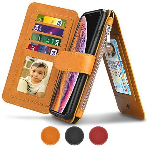 - Tiflook Wallet Case for iPhone X/iPhone Xs, [5.8 inch] Premium Leather [Detachable Magnetic] Zipper Pocket ID Credit Card Holder Slots Handbag Purse Flip Folio [Gift-Box] Kickstand Cover - Wheat