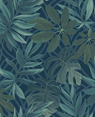 (A-Street Prints 2763-24201 Nocturnum Blue Leaf Wallpaper)