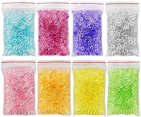 8 colores perlas de Pecera para crujientes Slime – claro 24 onzas perlas de perlas de plástico florero Filler pecera para casera Slime