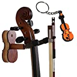 Moreyes Violin Hanger Wall Mount - Wood Bow Hanger with One Violin Keychain Packed (Rosewood color)