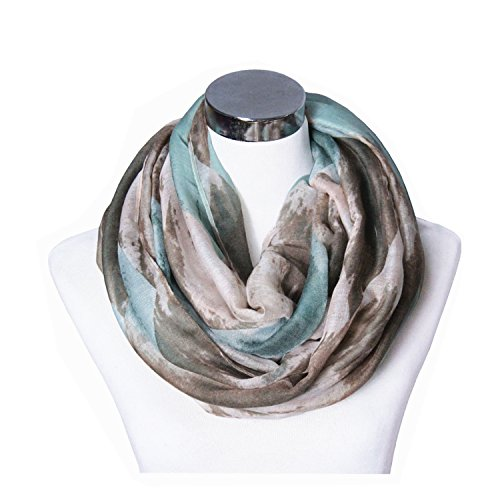 Womens Fashion Infinity Scarf - Lucky Leaf Women Lightweight Cozy Infinity Loop Scarf with Various Artist Print (Ink Coffee Green)