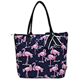 quilted fabric handbags - Ngil Quilted Cotton Medium Tote Bag 2018 Spring Collection (Pink Flamingo Navy Blue)