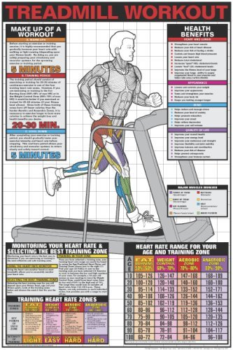 amazon com treadmill workout 24 x 36 laminated chart fitness