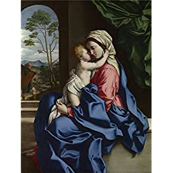 Oil Painting 'Sassoferrato The Virgin And Child Embracing', 16 x 21 inch / 41 x 54 cm , on High Definition HD canvas prints is for Gifts And Bath Room, Foyer And Nursery Decoration, home