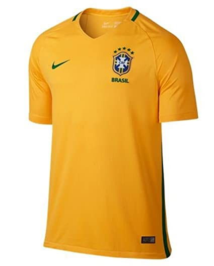 Nike Brazil Home Stadium Soccer Jersey (Small) Yellow