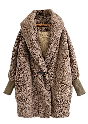 Button Coat Shearling Four (Women's Brown Lamb Hooded Coat Overcoat Plus Size Bell Sleeve Blanket Jacket Thicken Coats with Horns Button,One Size)
