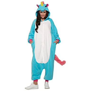 Forum Novelties Adult Blue Unicorn Jumpsuit Halloween Costume