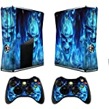 Xbox 360 Skin Sticker X360 Decals Custom Cover Skins Xbox360 Slim Modded Console Game Accessories Set Decal Xbox 360 S Stickers and 2 Wireless Remote Controllers - Skull of Blue Fire by GameXcel ®