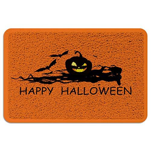 CHARMHOME Entrance Doormat Happy Halloween Terrible Pumpkin Lantern Indoor/Outdoor Doormat Rubber Shoes Scraper Non Slip Heavy Duty Front Entrance Door Mat Rug 24X35 Inch