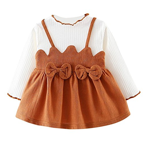 Price comparison product image PENATE Toddle Baby Girl Bowknot Party Princess Dress Wedding Skirt Dance Robes (Coffee,  18M)