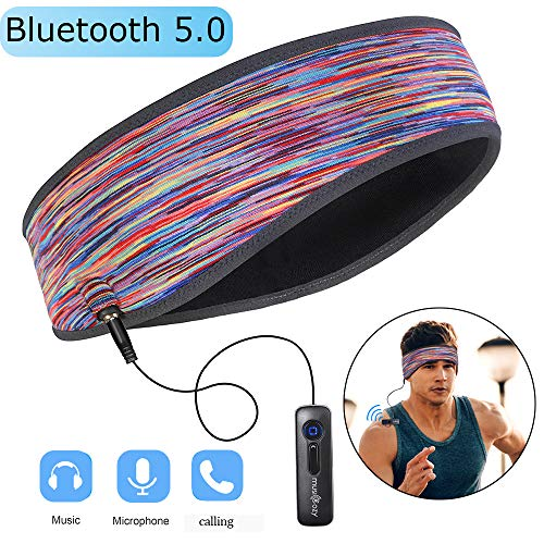 Sports Headband Headphones, Headsets for Sleeping Washable Bluetooth Running Headband Perfect for Riding, Air Travelling (Camouflage Pink)