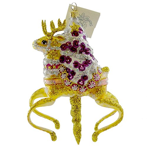 Glass Ornament Carousel (Larry Fraga CAROUSEL RUDOLPH Blown Glass Ornament Christmas Reindeer 407)