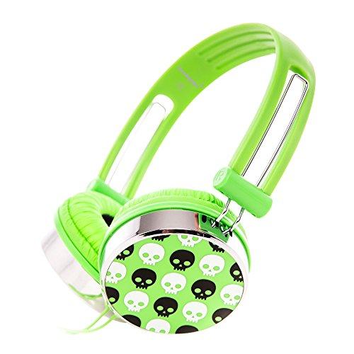 RockPapa Over Ear Stereo Wired Skull Headphones Earphones Adjustable for Kids Childrens Boys Girls Teens Adults Green