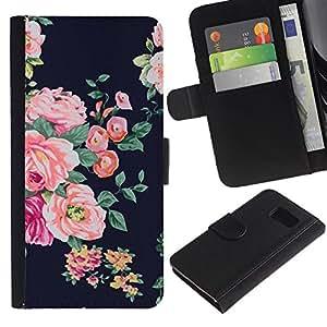 Be Good Phone Accessory // Caso del tirón Billetera de Cuero Titular de la tarjeta Carcasa Funda de Protección para Samsung Galaxy S6 SM-G920 // rose black vignette rustic floral textile