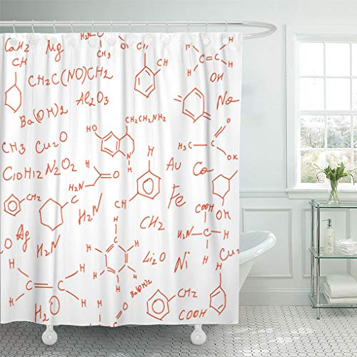 Emvency Shower Curtain Hormone Scientific with Chemical Serotonin Formulas Equations Multicolored Antidepressant Shower Curtains Sets with Hooks 72 x 78 Inches Waterproof Polyester Fabric (Best Antidepressant Drugs Depression)