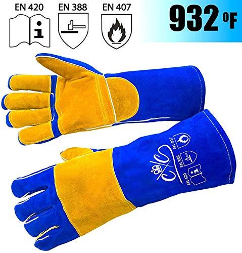Premium Leather Welding Gloves   Heat Fire Resistant Welders Glove
