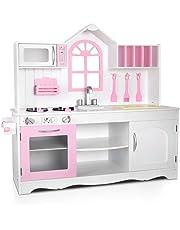 Keezi Kids Wooden Kitchen Play Set - White & Pink