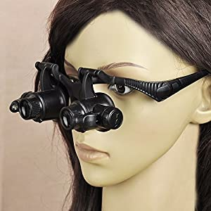 Zorpia Glasses New Loupe 10X 15X 20X 25X LED Double Eye Jeweler Watch Repair Magnifying Glasses Loupe Magnifier 9892G