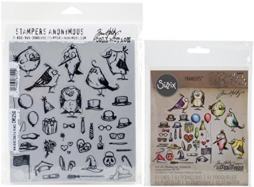 (Tim Holtz Mini Bird Crazy & Things Cling Rubber Stamps and Sizzix Thinlits Dies Bundle (Set of 2)