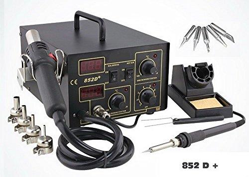 2in1 Latest Soldering Rework Station Hot Air & Iron Gun Welder Desoldering 852D+ ESD PLCC