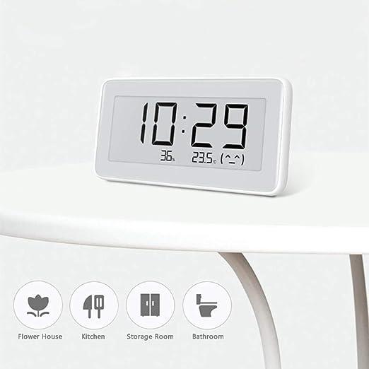 Clock Sensor de Humedad del hogar Termómetro Digital Multifuncional Bluetooth Reloj de Alta precisión de Reloj Pantalla Led Temperatura: Amazon.es: Hogar