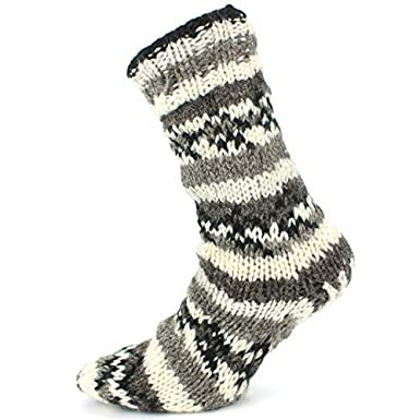 LOUDelephant Klobige Wolle Strick Fleecefutter Socken - grau, One ...