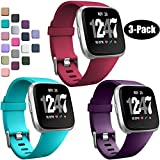 Wepro Bands Compatible with Fitbit Versa SmartWatch, Versa 2 and Versa Lite SE Sports Watch Replacement Band for Women Men Kids, Small, 3 Pack, Wine Red, Plum, Teal