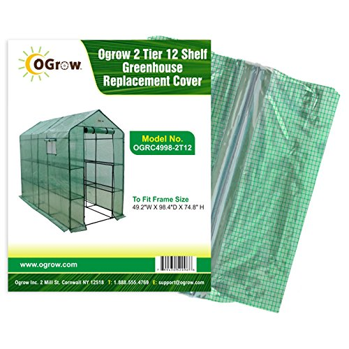 Ogrow 2 Tier 12 Shelf Greenhouse PE Replacement Cover, 49.2 x 98.4 x 74.8-Inch