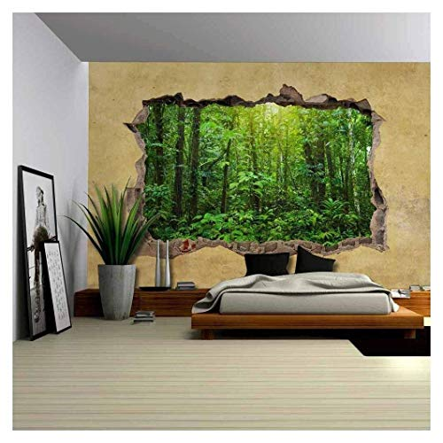wall26 - Tropical Rain Forest Viewed Through a Broken Wall - Large Wall Mural, Removable Peel and Stick Wallpaper, Home Decor - 100x144 inches