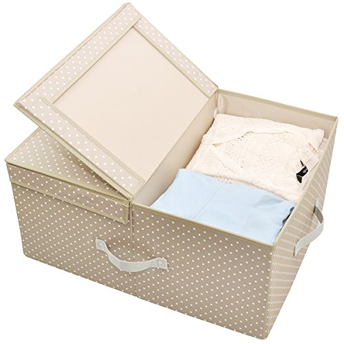 iwill CREATE PRO Folding Ultra-Size Clothes Storage Containers with Lid and Dual Compartments, (21.7x16.5x10.2 Inches), Apricot Dot (Happy Dots Apricot)