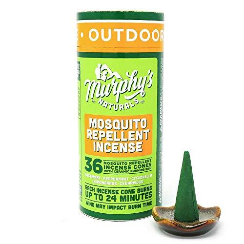 Murphy's Naturals Mosquito Repellent Incense Cones   DEET Free Plant Based   36 Cones   24 Minute Burn Time per Cone   Includes Ceramic Burning ()