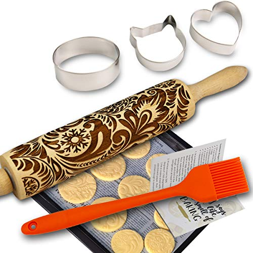 (Paisley Embossed Rolling Pins for Baking Cookies + Basting Brush + Cookie Cutters + Recipes Embossing Rolling Pin Frosty Flowers Wood Pies Laser Engraved Rolling Pin 3D Embossed Dough Roller Christmas )