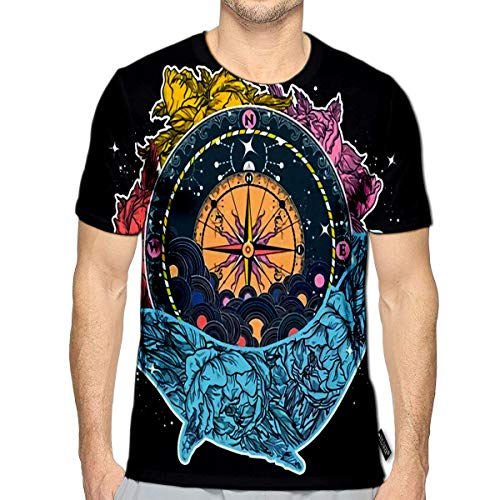 3D Printed T-Shirts Antique Compass and Floral Whale Tattoo Art Mystical Symbol of Adventure Dreams Short Sleeve Tops Tees a