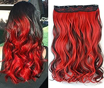 Dark Brown Mix Red Two Colors Ombre Hair Extensions Synthetic Hair Clips In Extensions Uf582