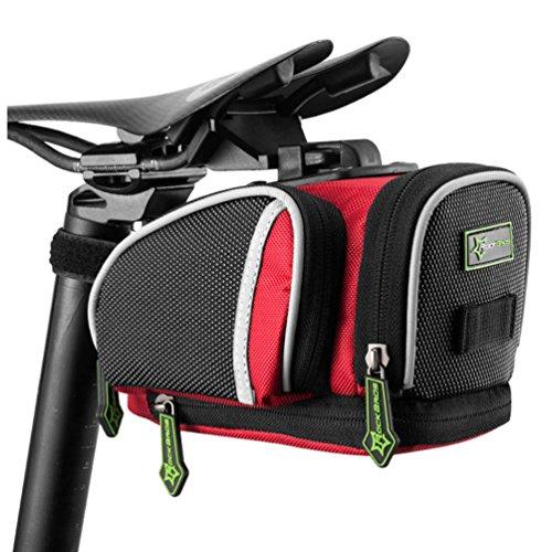RockBros Road Mountain Bike Saddle Bag Under Seat Post Bag Fixed Gear Fixie (Black Red)